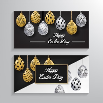 Happy easter day banner background vector