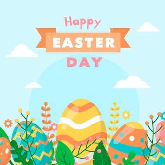 Happy easter day banner in flat design