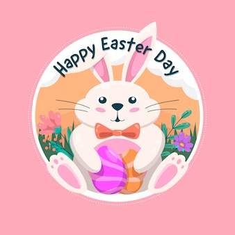 Happy easter day banner with adorable bunny