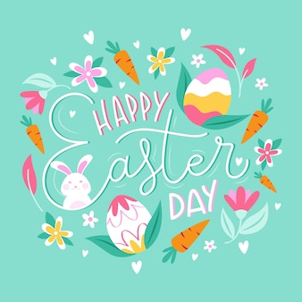 Happy easter day banner with carrots and eggs