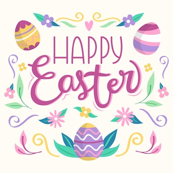 Happy easter day banner with multicolored eggs