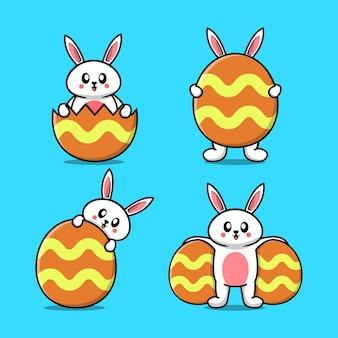 행복 한 부활절 날 토끼 컬렉션