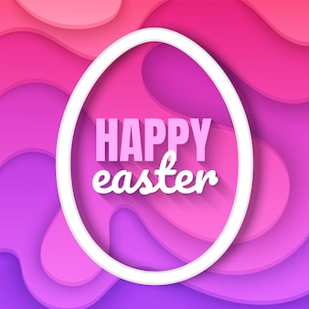 Happy easter day card background with deep pink and purple colors paper cut design