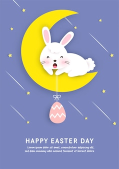 Happy easter day card in paper cut style.