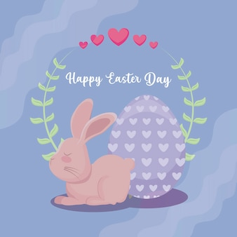 Happy easter day card with cute rabbit and egg