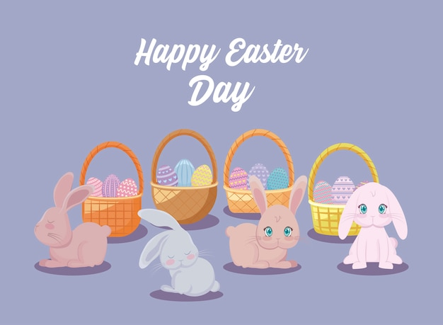 Happy easter day card with cute rabbits and baskets wicker