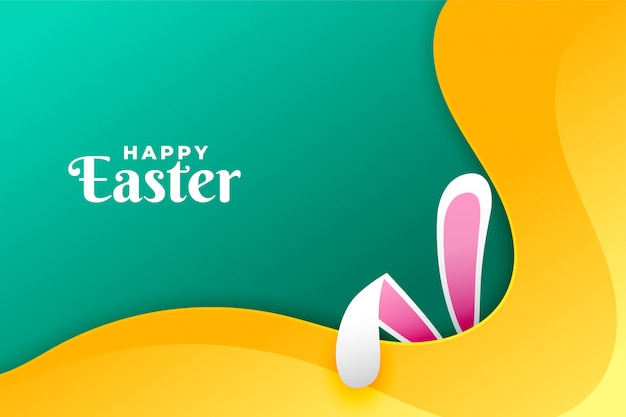 Happy easter day card with rabbit ears