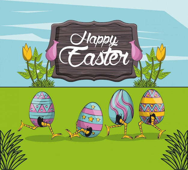 Happy easter day card Premium Vector