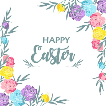 Happy easter day in colourful flowers background