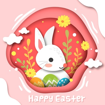 Happy easter day concept in paper style