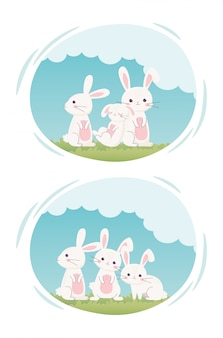 Happy easter day, cute white rabbits in grass cartoon labels