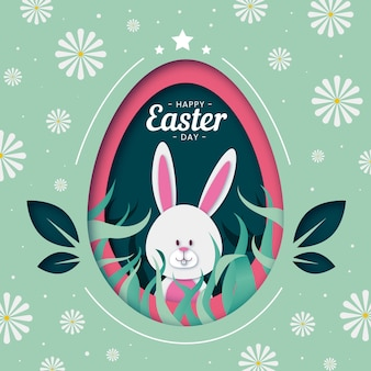 Happy easter day egg background in paper style