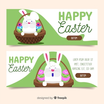 Happy easter day flat banners
