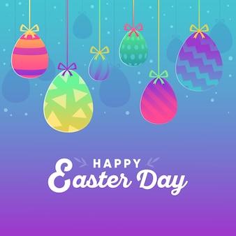 Счастливой пасхи день плоский дизайн фон с яйцами