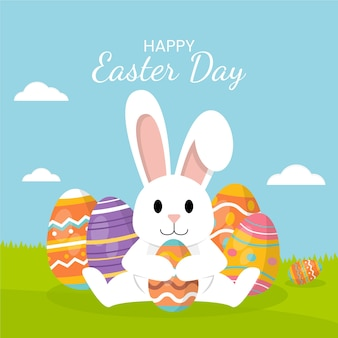 Happy easter day flat design background