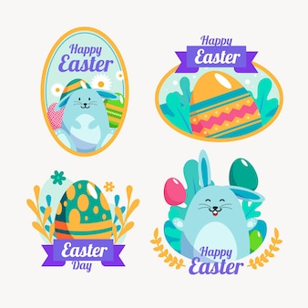 Happy easter day flat design badge with fluffy bunny