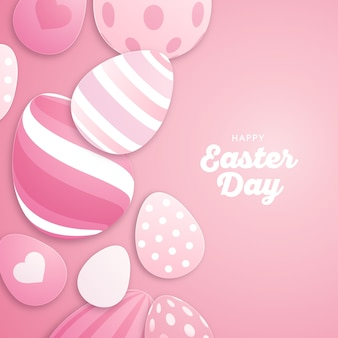 Happy easter day flat design wallpaper with eggs