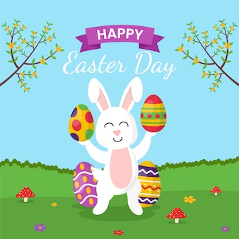 Happy easter day flat design wallpaper