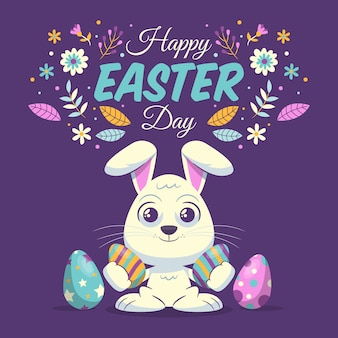 Happy easter day in flat design