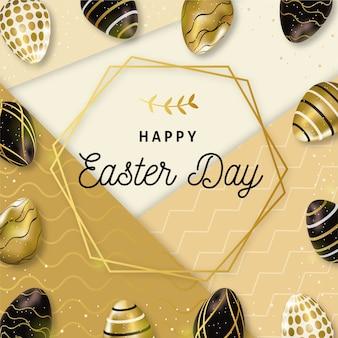 Счастливого пасхального дня золотые и черные яйца и элегантная рамка