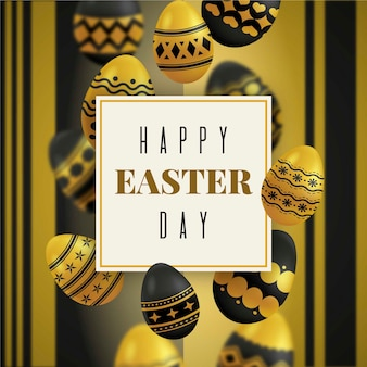 Happy easter day golden and black eggs