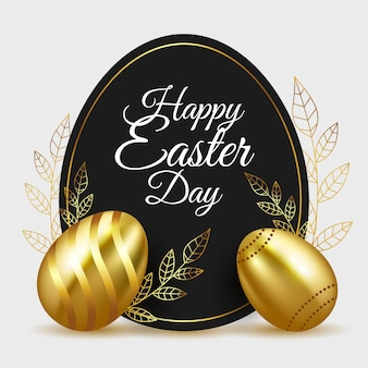 Happy easter day golden eggs and leaves