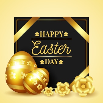 Happy easter day golden eggs and ribbons