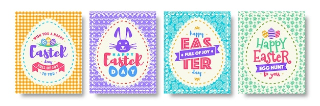 Happy easter day greeting card set with typography wishes color style for banner sale