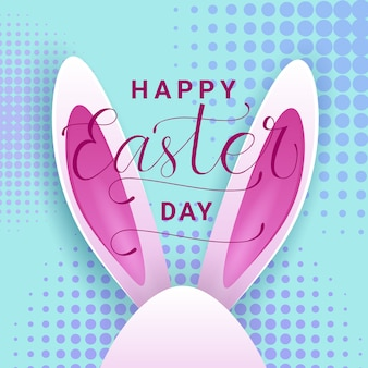 Happy easter day greeting card with beautiful lettering hand drawn and bunny ears