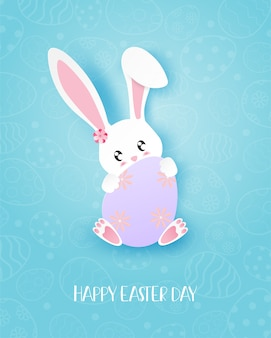 Happy easter day greeting card with bunny hug a eggs in paper cut style.