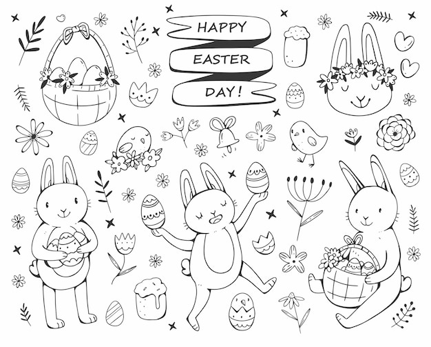 Happy easter day greeting card with easter set in doodle style