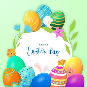 伝統的な卵と花と幸せなイースターの日のグリーティングカード
