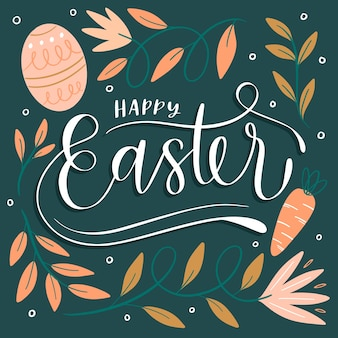 Happy easter day hand drawn background