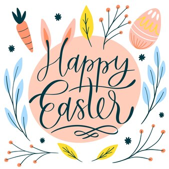 Happy easter day hand drawn wallpaper