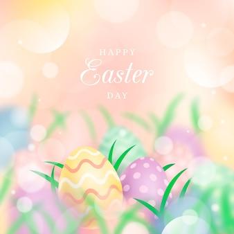 Счастливой пасхи иллюстрация с яйцами и травой