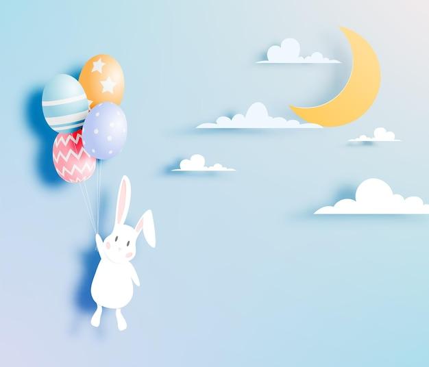 토끼와 계란 종이 예술 스타일의 행복 한 부활절 날