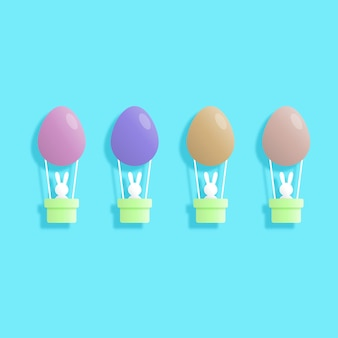 토끼와 부활절 달걀 종이 예술 스타일의 행복한 부활절 날. 인사말 카드, 포스터 및 벽지. 벡터 일러스트 레이 션.