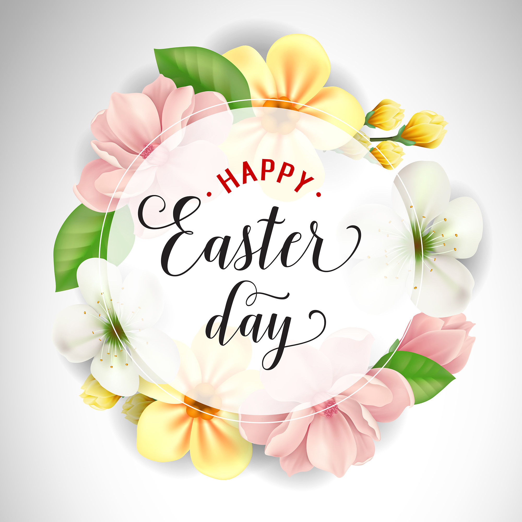 Happy Easter Day Inscription in Circle