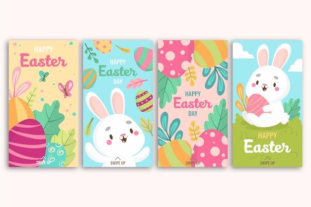 행복 한 부활절 날 인스 타 그램 계란과 흰 토끼