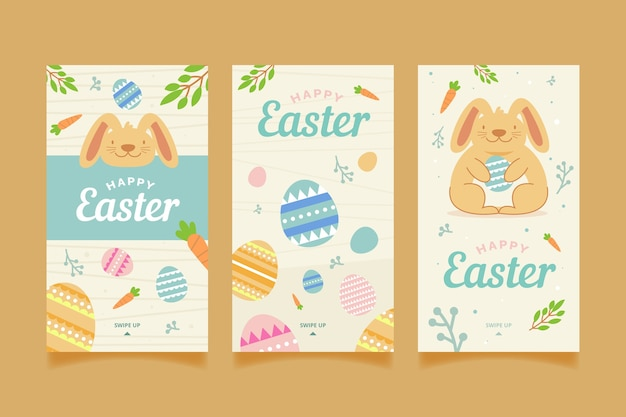 Happy easter day instagram stories with eggs and rabbit