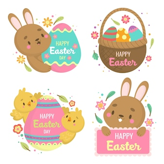 Happy easter day label with brown rabbit