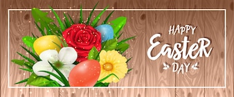 Happy Easter day lettering in frame with white bunch of flowers and colored eggs