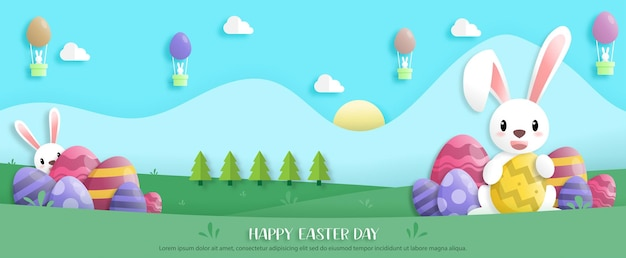 Happy easter day in paper art style with rabbit and easter eggs. greeting card, posters and wallpaper. banner. vector illustration.