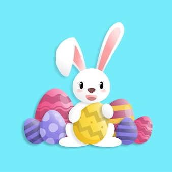 Happy easter day in paper art style with rabbit and easter eggs. greeting card, posters and wallpaper. vector illustration.