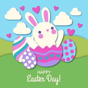 Happy easter day in paper style background