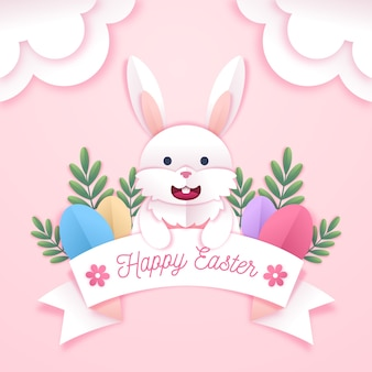 Happy easter day in paper style event