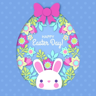 Happy easter day in paper style wallpaper
