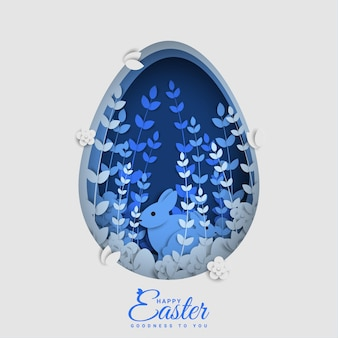 Happy easter day in paper style