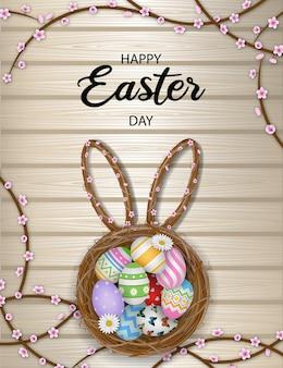 둥지에 다채로운 계란 행복 한 부활절 날 포스터