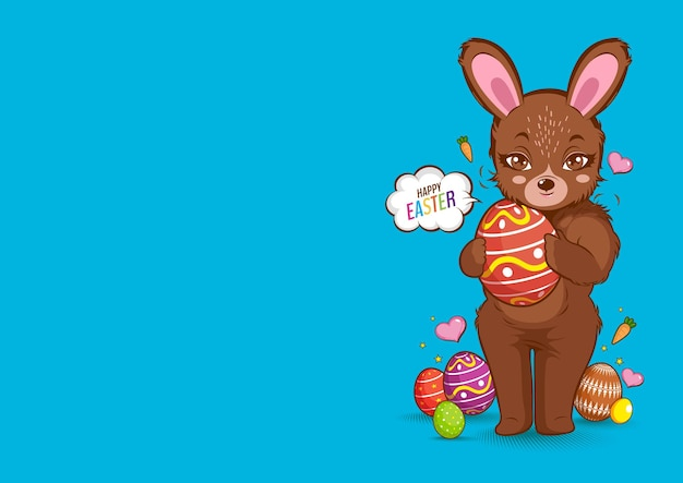 Happy easter day, rabbit brown color cute, bunny.